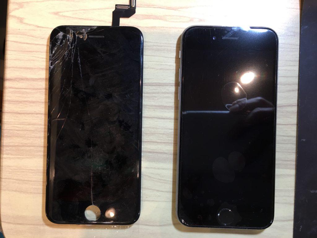 iphone6sブラックガラス修理